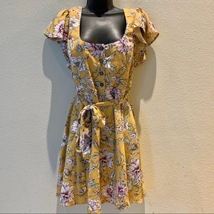 Xhilaration Yellow Floral Flutter Sleeve Dress